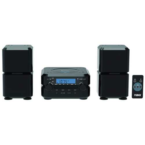 NAXA Electronics Wireless Bluetooth Digital CD Microsystem with LCD Display in Black