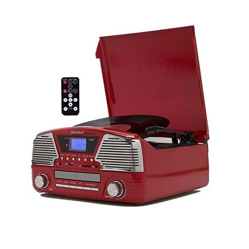 TechPlay 3 Speed Turntable, Programmable MP3 CD Player, USB/SD, Radio & Remote Control in Red