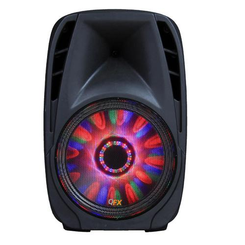 "QFX 10"" Battery Powered Portable Party Speaker With Bletooth/USB/SD/FM Player, RGB LED Moonlight With ON/OFF Switch"