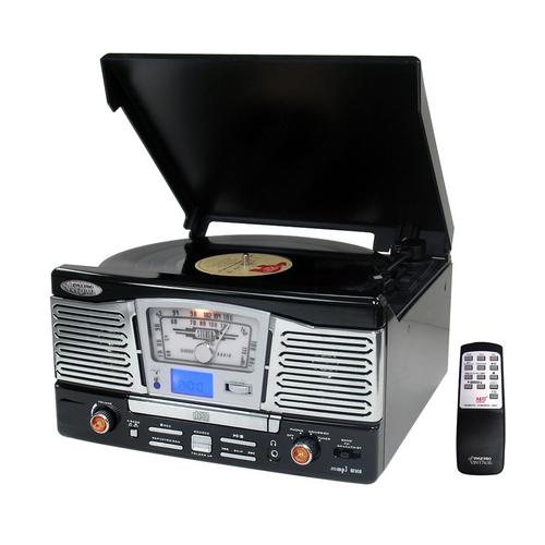 Pyle Retro Style Turntable with CD/Radio/USB/SD/MP3/WMA and Vinyl-to-MP3 Encoding