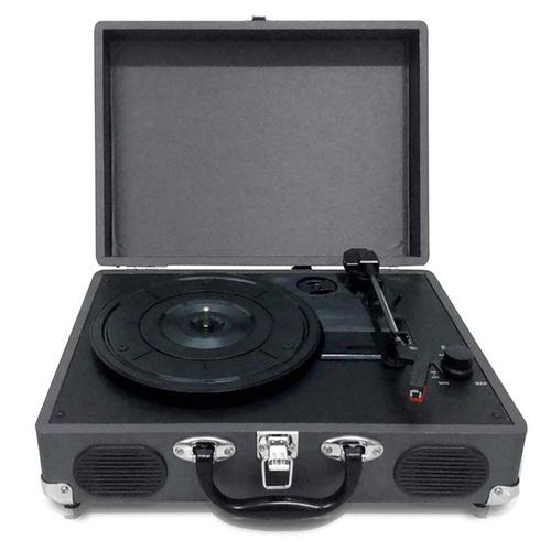 Pyle Retro Belt-Drive Turntable with USB-to-PC Connection, Rechargeable Battery (Black)
