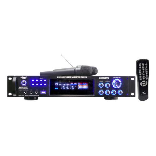 Pyle 1000 Watts Hybrid Pre-Amplifier with AM-FM Tuner/USB/Dual Wireless Mic