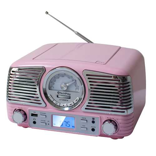 Nostalgic Portable Bluetooth Stereo System in Pink