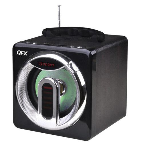 QFX FM radio with USB/SD port built-in disco light rechargeable battery