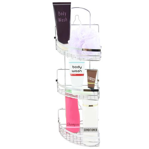 Elama Three Rack Shower Caddy with Foldaway Shelves