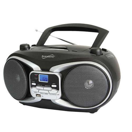 Supersonic Portable Audio System MP3/CD Player with USB/AUX Inputs & AM/FM Radio
