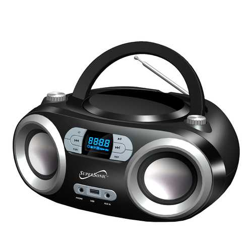 Portable Bluetooth Audio System-Black MP3/CDPlayer in Black