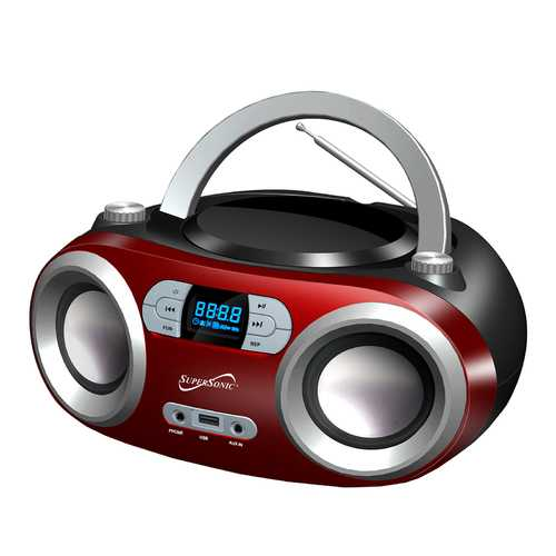 Supersonic Portable Bluetooth Audio System-Black MP3/CDPlayer in Red