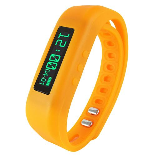 "Supersonic 0.91"" Fitness Wristband With Bluetooth Pedometer, Calorie Counter and More-Orange"