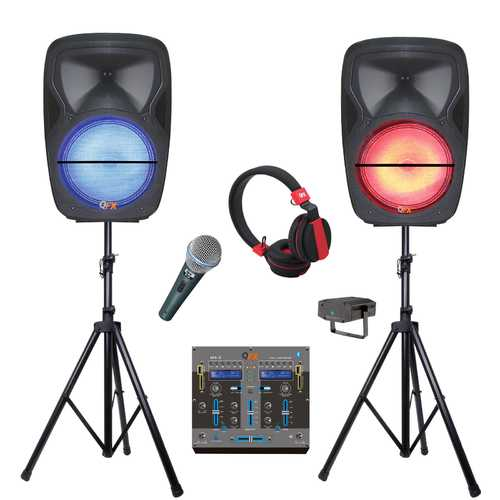 Quantum Fx Dual Portable Party Bluetooth Speakers with Mixer