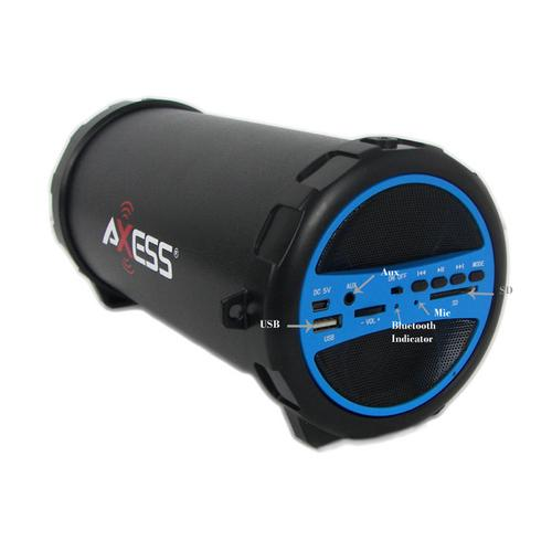 Axess Portable Bluetooth Indoor/Outdoor Hi-Fi Cylinder Loud Speaker with SD Card and USB Input in Blue Color