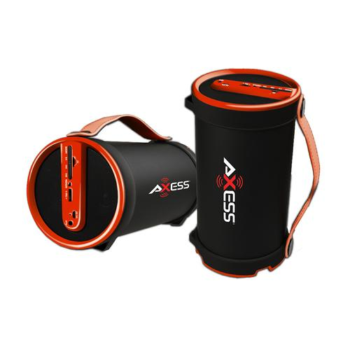 "Axess Portable Bluetooth 2.1 Hi-Fi Cylinder Speaker w/SD Card, AUX & FM Inputs, 4"" Sub.-Red"