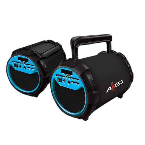 "Axess Portable Bluetooth 2.1 Hi-Fi Loud Speaker w/Mic., SD,USB,AUX And FM, 6.5"" Sub.-Blue"