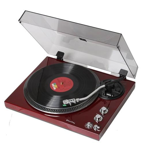 TechPlay Analog Turntable with Built-in Phono Pre-amplifier, By-Pass selecter, Auto-Return, Aluminum Platter and direct PC Link