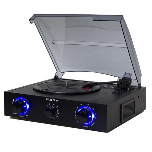 TechPlay 3 Speed Turntable with Pitch Control, FM Radio and RCA Out