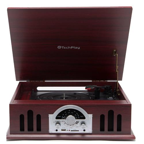 TechPlay 3 speed turntable, AUX in, USB/SD MP3 Encoding and playback , Retro style classic analog radio, RCA line out, Auto stop, Cherry Wood Color