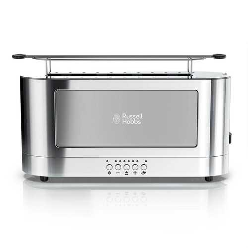 Russell Hobbs Stainless Steel 2 Slice Long Toaster with Glass Accent in Grey