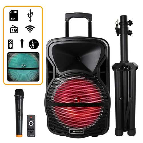 Trexonic Combination 12 Inch Bluetooth Portable Speaker and Tripod Stand with Reactive Lights, FM Radio and USB/TF Inputs