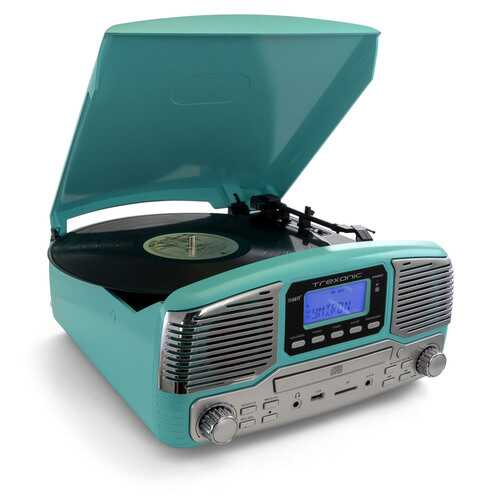 Trexonic Retro Wireless Bluetooth, Record and CD Player in Turquoise