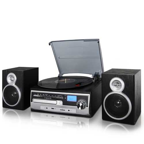 Trexonic 3-Speed Turntable With CD Player, FM Radio, Bluetooth, USB/SD Recording and Wired Shelf Speakers