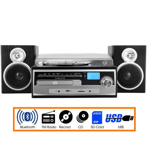 Trexonic 3-Speed Vinyl Turntable Home Stereo System with CD Player, FM Radio, Bluetooth, USB/SD Recording and Wired Shelf Speakers