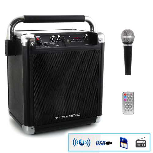 Refurbished Trexonic Wireless Portable Party Speaker with USB Recording, FM Radio & Microphone, Black