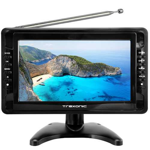 "Trexonic Portable Ultra Lightweight Rechargeable Widescreen 10"" LCD TV with SD, USB, Headphone Jack, AV Inputs and Detachable Antenna"