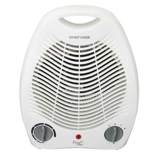 Vie Air 1500W Portable 2 Settings White Office Fan Heater with Adjustable Thermostat