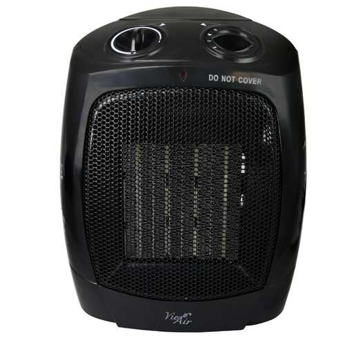 Vie Air 1500W Portable 2-Settings Office Black Ceramic Heater with Adjustable Thermostat