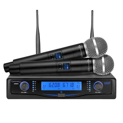 Technical Pro Professional UHF Dual Wireless Microphone System with Carrying Case