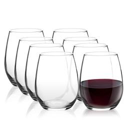 Pasabahce Amber 8 Piece Stemless Wine Glass Set