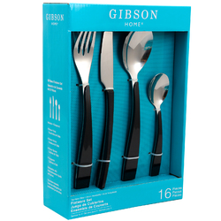 Gibson Home Deco Shine 16 Piece Flatware Set in Black