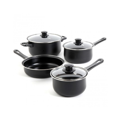 Gibson Home Chef Du Jour 7 Piece Cookware Set in Black