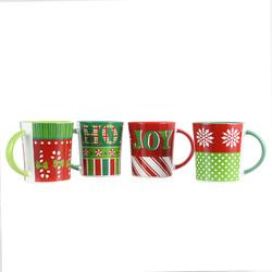 Gibson Home 4 Piece Holiday Wrap 15 Ounce Assorted Funky Mug Set