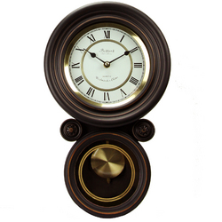 Bedford Clock Collection 16.5 Inch Contemporary Round Wall Clock with Pendulum