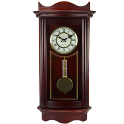 "Bedford Clock Collection Weathered Cherry Wood 25"" Wall Clock with Pendulum"