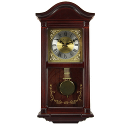 """Bedford Clock Collection Mahogany Cherry Wood 22"""" Wall Clock with Pendulum and Chimes"""