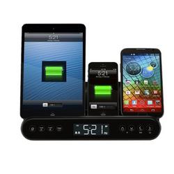 Capello Clock Radio and Universal Charging Stand - Black