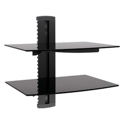 MegaMounts Tempered Glass Double Shelf Single Stud Wall Mount