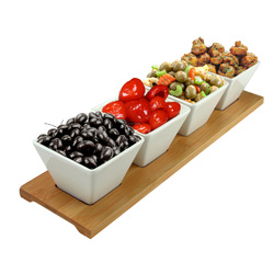 Elama Signature Modern 5pc Appetizer and Condiment Server with 4  Serving Dishes and a Bamboo Serving Block