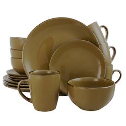 Elama Bristol Grand 16-Piece Dinnerware Set, Warm Taupe