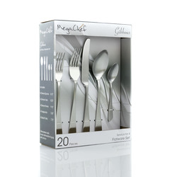 MegaChef Gibbous 20 Piece Flatware Utensil Set, Stainless Steel Silverware Metal Service for 4 in Matte Silver