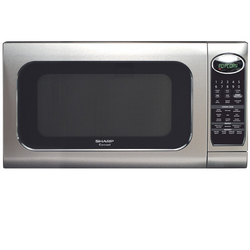 Sharp - 1.3 Cu. Ft. Mid-Size Microwave - Pearl Silver