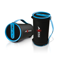 Category: Dropship Bluetooth, SKU #SPBT1033-BL, Title: Axess Portable Bluetooth 2.1 Hi-Fi Cylinder Speaker w/SD Card, AUX & FM Inputs, 4