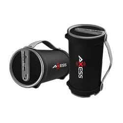 "Axess Portable Bluetooth 2.1 Hi-Fi Cylinder Speaker w/SD Card, AUX & FM Inputs, 4"" Sub.-Gray"