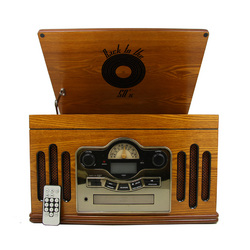Back to the 50's Antique Wooden 3 Speed Turntable with CD Player
