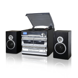 Trexonic 3-Speed Turntable With CD Player, Double Cassette Player, Bluetooth, FM Radio & USB/SD Recording