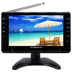 "Trexonic Portable Ultra Lightweight Rechargeable Widescreen 9"" LCD TV with SD, USB, Headphone Jack, Dual AV Inputs and Detachable Antenna"