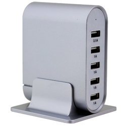 Trexonic 7.1 Amps 5 Port Universal USB Compact Charging Station in Silver Finish