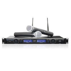 Technical Pro Professional UHF Dual Wireless Microphone System- Black